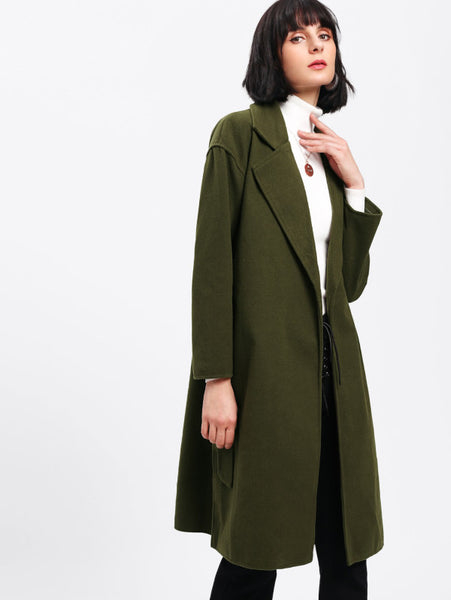 Army Green Side Pocket Long Coat
