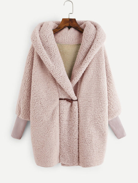 Apricot Long Sleeve Hooded Batwing Oversized Coat