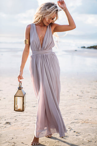 Grey Deep V Neck Tie Waist Pleated Maxi Dress