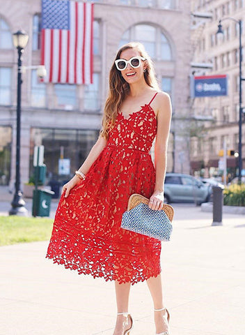 Red Lace Cami Flare Dress Holiday Prom Homecoming Dress