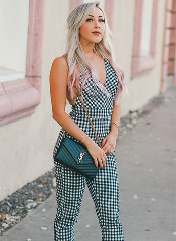 Trendy Checkered Jumpsuit with Criss Cross Back and V Neck Front Jumper