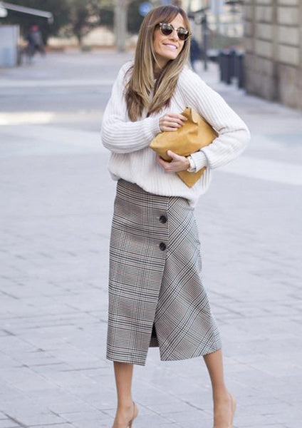 Grey Plaid Button Up Wrap Skirt