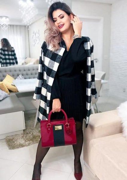Black and White Plaid Open Front Long Collarless Coat