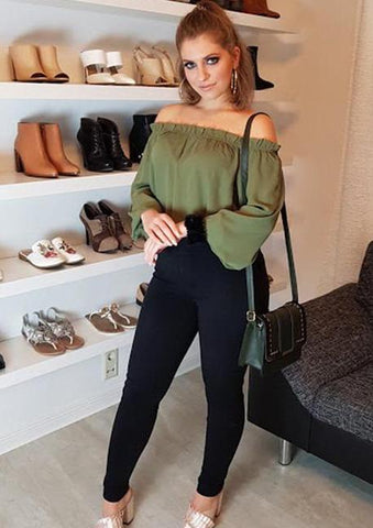 Army Green Elastic Off Shoulder Lantern Sleeve Blouse
