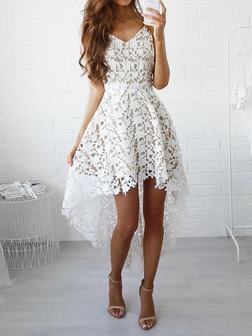 White V-neck Dipped Hem Spaghetti Straps Cami Lace Dress