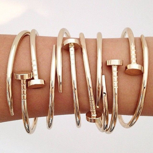 Gold Bracelet Nail Style Trendy Jewelry Love Bangle Bracelet