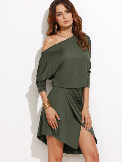Army Green Off the Shoulder Overlap Wrap Trendy Dress