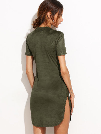 Army Green Slit T Shirt Dress