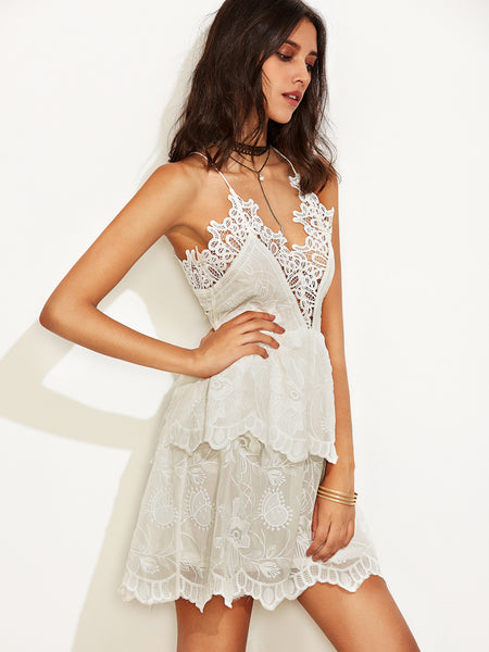 Beige Spaghetti Strap Lace Double Layer Dress