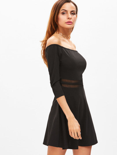 Black A Line Dress with Mesh Stripes Off the Shoulder Dress