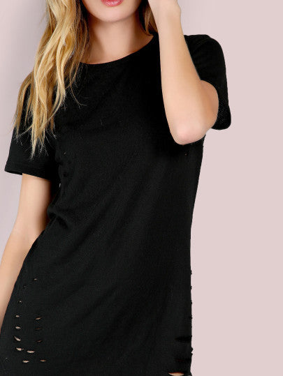Black Trendy Ripped Tee Shirt Dress