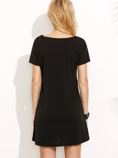 Black Front Cross Short Sleeve Dress