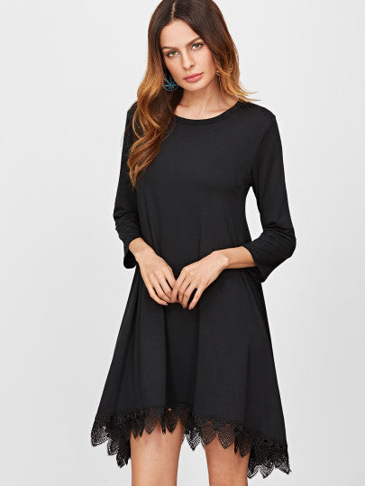 Black Long Sleeve Lace Trim Bottom Dress