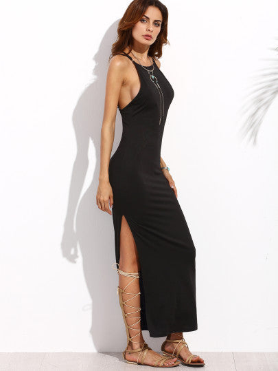 Black Maxi Sleeveless Dress with Side Split