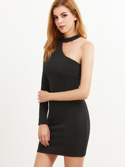 Black One Shoulder Choker Party Dance Dress