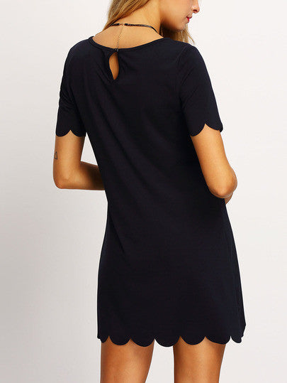 Black Scalloped Hem Short Sleeve Dress