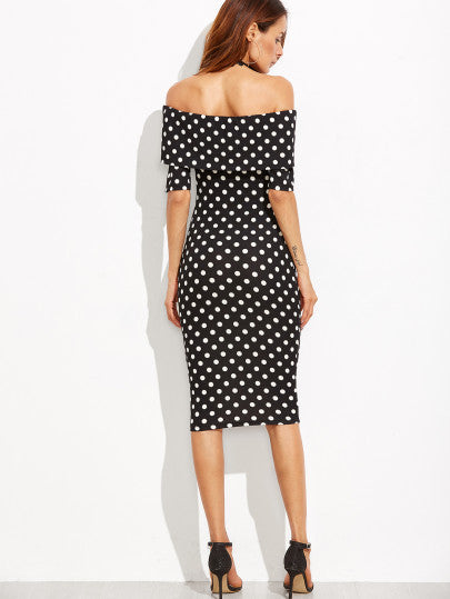 Black and White Polka Dot Off the Shoulder Dress