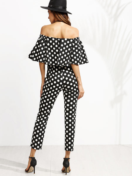 Black and White Polka Dot Print Off The Shoulder Jumpsuit