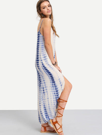 Blue Boho Trendy Maxi Dress Multicolor Ikat Print Split Side Dress