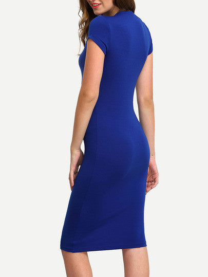 Blue Cap Sleeve Crew Neck Bodycon Dress