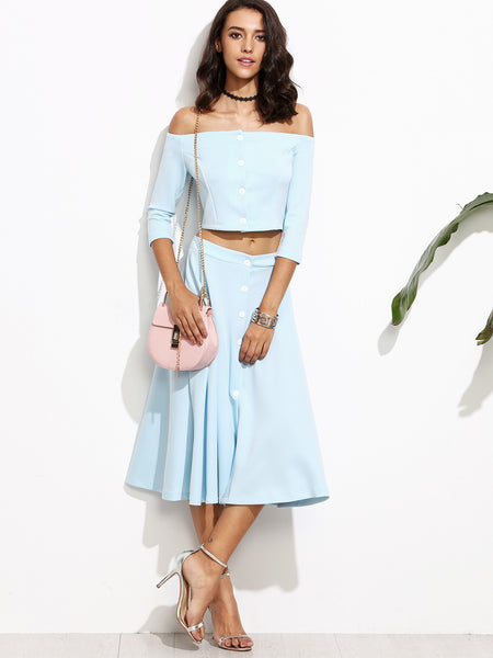 Blue Off The Shoulder Button Front Top With A-Line Skirt