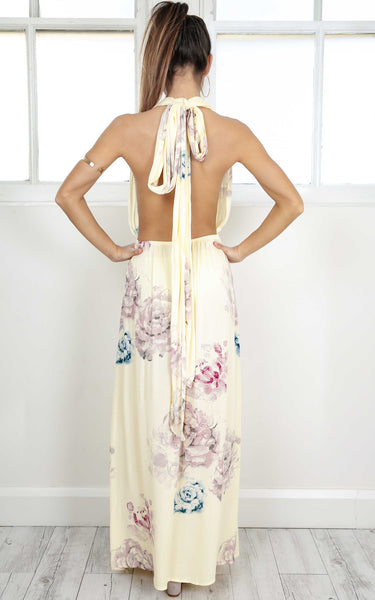 ♡ Boho Chic Summer Maxi Dress Floral Yellows and Pink Open Back  ♡