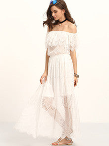 Boho Summer Beige Off The Shoulder Ruffle Lace Maxi Dress