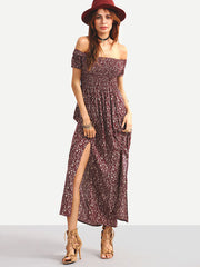 3d0c3c004f0 Boho Summer Off-The-Shoulder Slit-Front Floral Dress Burgundy – Lyfie