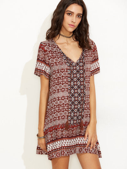 Boho Vintage Print Short Sleeve Shift Dress