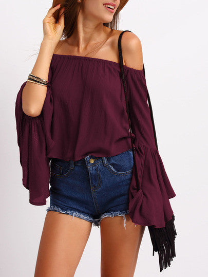 "✿ ""Simplicity is the keynote of all true elegance.""✿ Burgundy Off the Shoulder Bell Sleeve Top"