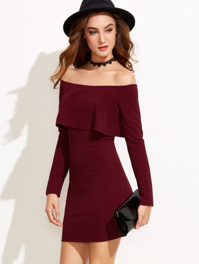 e055c20ee41 Burgundy Off the Shoulder Long Sleeve Bodycon Dress. LYFIE