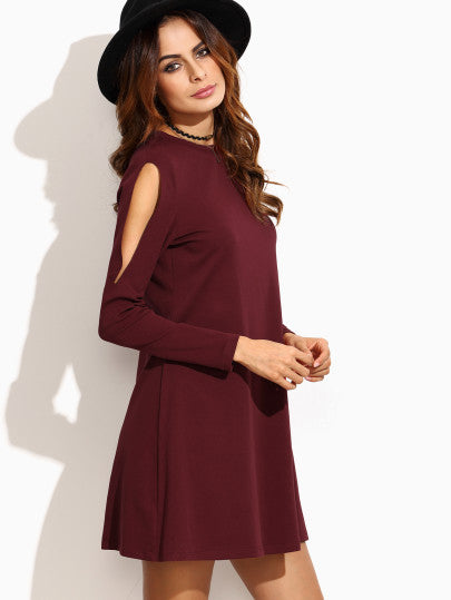 Burgundy Swing Dress with Cut Out Shoulders