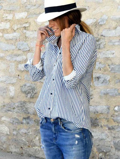 Button Up Striped Blouse