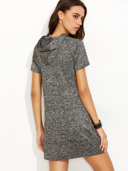 Casual Grey Drawsting Hooded Dress With Pocket