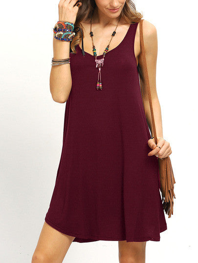 61ec2669b7 Casual Summer Burgundy Swing Tank Dress – Lyfie