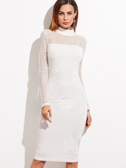Chic White Eyelet Pencil Dress