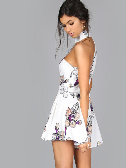 Choker Floral Romper with Off the Shoulder Design for Summer