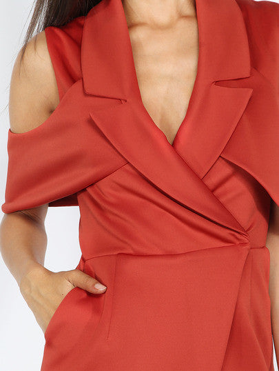 Classy Cold Shoulder Red Lapel Romper Playsuit