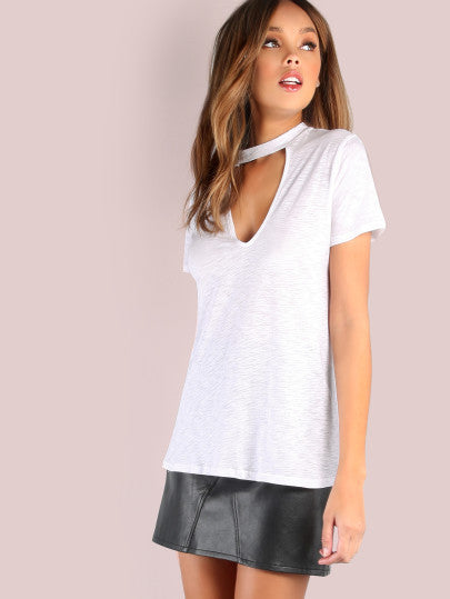 Deep V Neck White Choker Chill Trendy Shirt