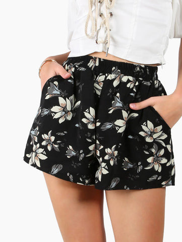 Floral Print High Waist Summer Shorts