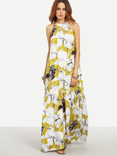 Floral Sleeveless Maxi Dress Multicolor with White Design