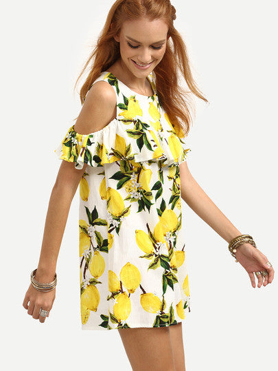 Fresh Yellow Open Shoulder Ruffled Lemon Print Dress
