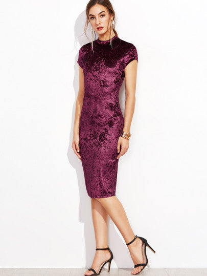 Gorgeous Burgundy Purple Mock Neck Velvet Short Sleeve Dress
