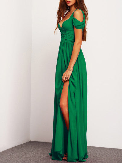 Green Slit Maxi Graduation Prom Homecoming Dress