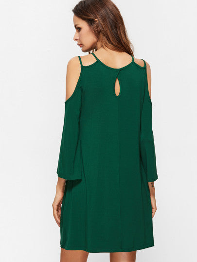 Green Spring Summer Cold Shoulder Keyhole Dress