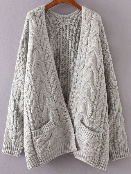 Grey Cable Knit Cardigan with Pockets