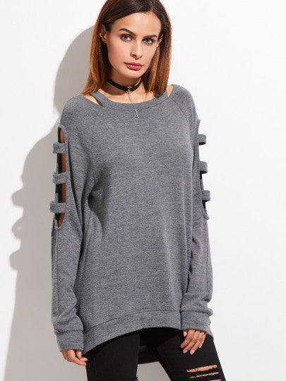 Grey Ladder Cut Sleeve Sweater