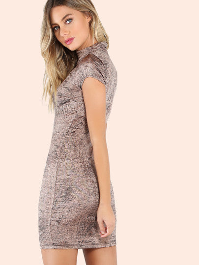 Grey Mini Dress Bodycon with Short Sleeves