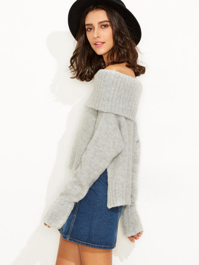 Grey Off the Shoulder Fold Over Comfy Sweater