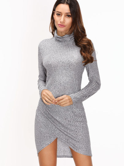Grey Ribbed Sweater Dress with Wrap Bottom